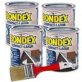 Bondex Compactlasur 3l Schnelltrocknende Wasserbasierte Holz-Lasur mit intensivem UV- und Witterungsschutz für alle Hölzer Innen und Außen zum Sprühen Streichen und Rollen (nussbaum)