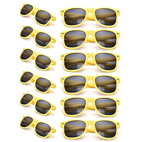 12 Pack Yellow Bulk Sunglasses Adult, Classic Retro Men Women Party Favors Glasses Wholesales Unisex