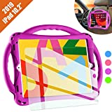 TopEsct iPad 7th Generation Case for Kids,with Tempered Glass Screen Protector and Strap,Premium Silicone Shockproof Apple New ipad 10.2 2019 Case Cover with Kickstand and Pencil Holder. (Purple)