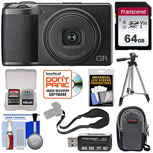 Ricoh GR III APS-C Wi-Fi Digital Camera with 64GB Card + Case + Tripod + Strap + Kit