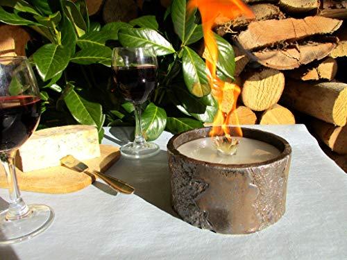 Schmelzlicht Keramik Bronze Outdoor, Kerzenfresser, Wachsfresser, zum Schmelzen von Restwachs, Tischfackel, Kerzen Recycling, Gartenfackel, ca. 13x7 cm, mit windfestem Dauerdocht, Handarbeit