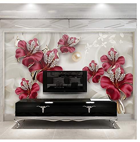 Vlies Benutzerdefinierte 3D Fototapete Schöne Stereo Schmuck Blume TV Wandbild Wohnzimmer Schlafzimmer Vlies Wasserdichte Tapete