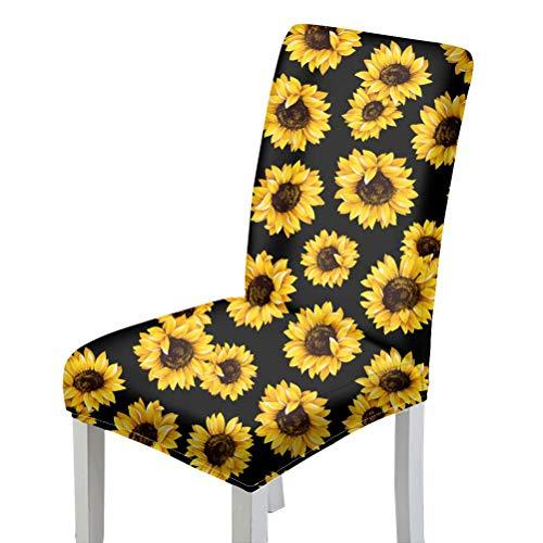 chaqlin Yellow Sunflower Dining Chair Schonbezug Set 6 Stretch Abnehmbare Waschbare Parsons Stuhlschutz Schonbezüge für Hotel, Esszimmer, Zeremonie, Bankett Hochzeitsdekor