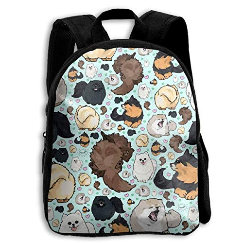 Backpack Children Boys Girls Various Pomeranians Backpack Shoulder Bag Book Scholl Travel Backpack