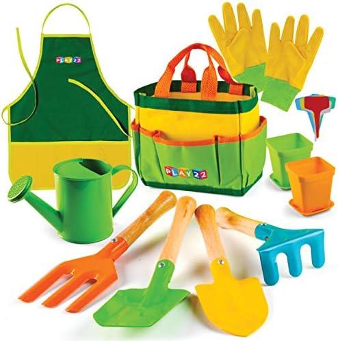 Play22 Kids Gardening Tool Set 12 PCS Kids Gardening Tools Shovel Rake Fork Trowel Apron Gloves product image
