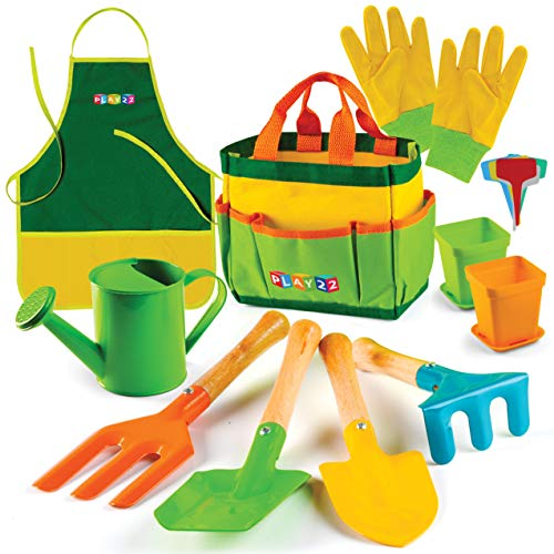 Play22 Kids Gardening Tool Set 12 PCS  Kids Gardening Tools Shovel Rake Fork Trowel Apron Gloves Watering Can and Tote Bag  Wooden Gardening Tools for Kids Best Outdoor Toys Gift for Boys and Girls
