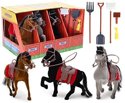 Toyland® 3 Geflockt Pferde Reitstall Set mit Zubehör