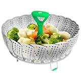 Vremi Collapsible Vegetable Steamer Basket- Food Safe Round Stainless Steel Steaming Tray - Fits...