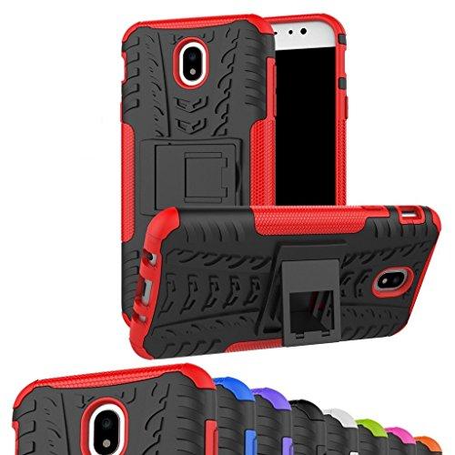 JINWU Coque Samsung Galaxy J7 2017, Double Couche Cover Antichoc Coque Résistant aux Chocs Goutte à l'épreuve Cas de Téléphone Portable avec Béquille Etui Housse pour Samsung J7 J730 (Rouge)