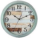 HYLANDA Reloj de pared rústico, funciona con pilas, 12 pulgadas, estilo rural silencioso, no hace tictac, decorativo para cocina, hogar, sala de estar, granja, dormitorios