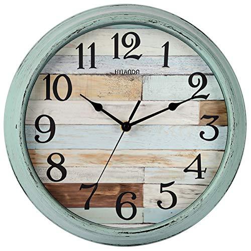 HYLANDA - Orologio da parete rustico, a batteria, 30 cm, stile country, silenzioso, non ticchettio, decorativo per cucina, casa, soggiorno, fattoria, camere da letto
