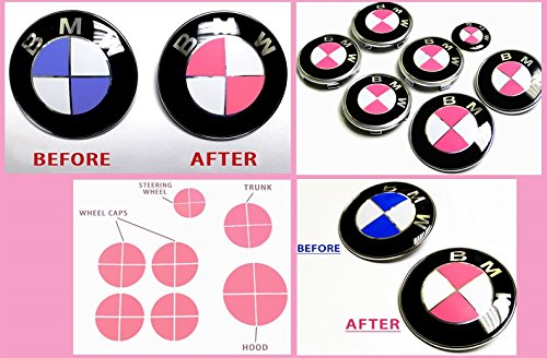 FL Vinyl Matte Pink Complete Set of Vinyl Sticker Overlay for All BMW Emblems