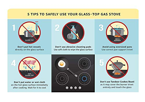 Elica Vetro Glass Top 4 Burner Gas Stove (594 Ct Vetro Black ), Manual