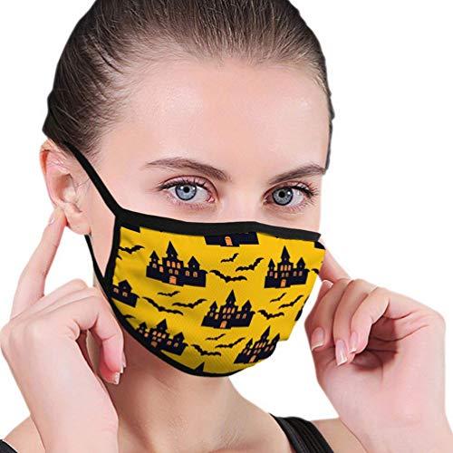 Máscara de Boca al Aire Libre, patrón de Halloween Plantilla de Vacaciones Castillo embrujado Árboles Murciélagos Luna Llena Simple
