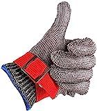 CPTDCL Guantes resistentes al corte de nivel 5 Guantes de trabajo de seguridad de carnicero de malla metálica de alambre de acero inoxidable (M)