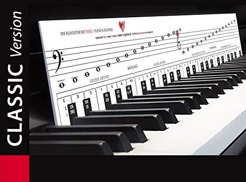 """KLAVIERSPIELEN lernen mit Freude und Spass - """"Klaviatur mit Herz"""" Tastenschablone/Klavierschule: Musiknoten, Tastenorientierung - Lernhilfe für Klavier & E-Piano, Noten lernen Kinder"""