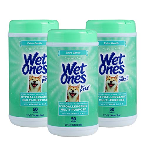 Wet Ones for Pets Multi-Purpose Dog Wipes with Vitamins A, C & E   Fragrance-Free Dog Wipes for All Dogs Wipes Multipurpose   50 Count Canister - 3 Pack