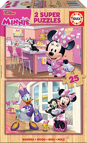 Educa - Minnie Ayudantes Felices Mickey and The Roadster Racers 2 Puzzles de 25 Piezas, Multicolor (17625)