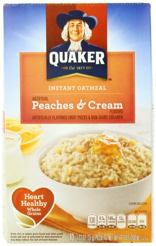 Quaker Instant Oatmeal Peaches & Cream, 1.23 Ounce - 10 Count Boxes, 12.3 Ounce (Pack of 12)