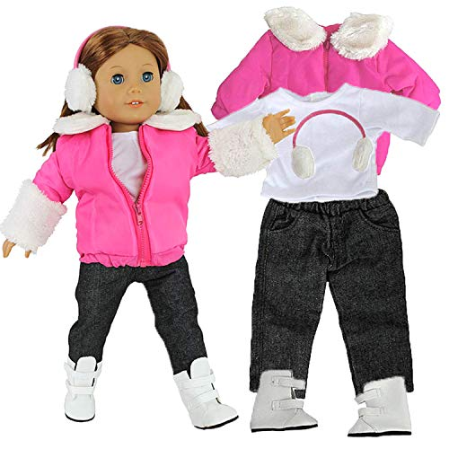 Winter Snow Doll Outfit for American Girl & 18' Dolls - 5 Piece Clothes Set Includes Jacket, Shirt, Jeans, Boots, & Earmuffs