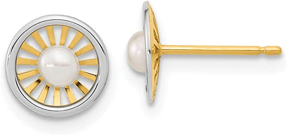 14k Two Tone Yellow Gold 3 3.5mm Freshwater Cultured Pearl Post Stud Earrings Ball Button Fine Jewelry For Women Gifts For Her