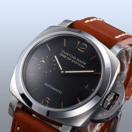 CHASO Uhr 42Mm Automatik Parnis Silber Edelstahl Uhr Schwarzes Zifferblatt Qualität Braunes Lederband Kalender Leuchtzeiger 3