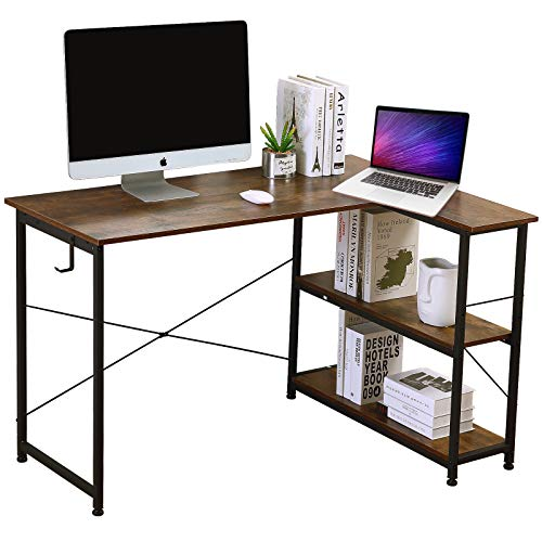 JUZI Computer Desk, 47 inch L-Shaped Corner Desk with Storage Shelves, Study Writing Table for Home Office, Small Spaces, Easy to Assemble