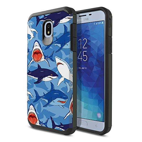 FINCIBO Case Compatible with Samsung Galaxy J7 J737 2018 5.5 inch, Dual Layer Hard Back Hybrid Protector Case Cover Anti Shock TPU for Galaxy J7 2018 (NOT FIT J7 2017) - Blue Shark Pattern