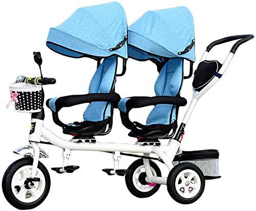 Knoijijuo Kinder-Trike, 4 in 1 Trike Doppeln Leichten Kind 3-Rad-Dreirad Fahrrad Mit Korb, Baby-Kind Twin Sitze Trolley Für 1-7 Jahre Alt, Grau,B