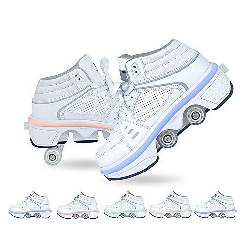 LDTXH Unisexe Skates 2-in-1-Mehrzweckschuhe, Verstellbare Quad-Rollschuh-Stiefel Mit Lithiumbatterie und bunten LED-Lichtern, wasserdicht und waschbar,39