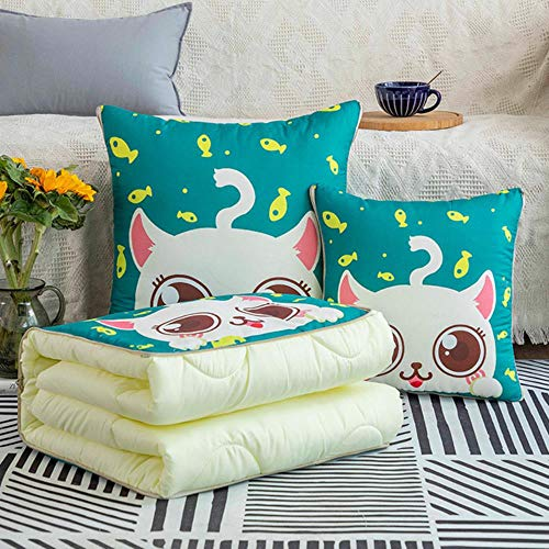 2 In 1 Foldable Cushion Blanket Throw Pillow Blanket Quilt Digital Printing For Home Office Car Trip Throw Pillow Back Cushion,19,40x40cm