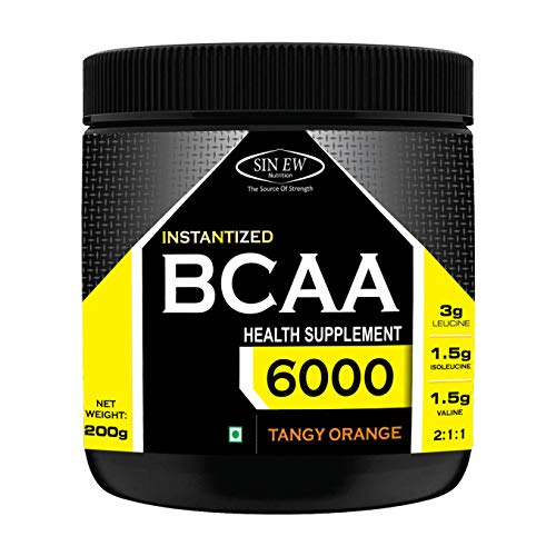 Sinew Nutrition Instantized BCAA 2:1:1, 200gm/0.44lb (Tangy Orange) - 25 Servings