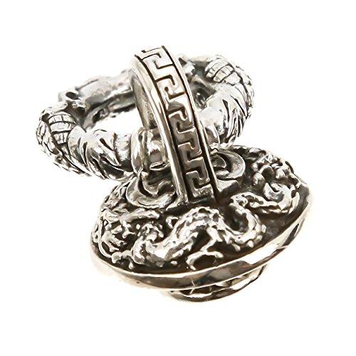 ジナブリング (JINA BRING) コンチョ ドラゴン雷紋 龍ウォレットチェーンホルダー ドロップハンドル シルバー925 財布 ボタン カスタム パーツ メンズ