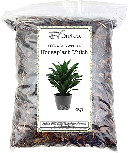Houseplant Mulch - Small bark Wood Chips for Indoor, Patio, Potting Media, and Much More! (4qts)