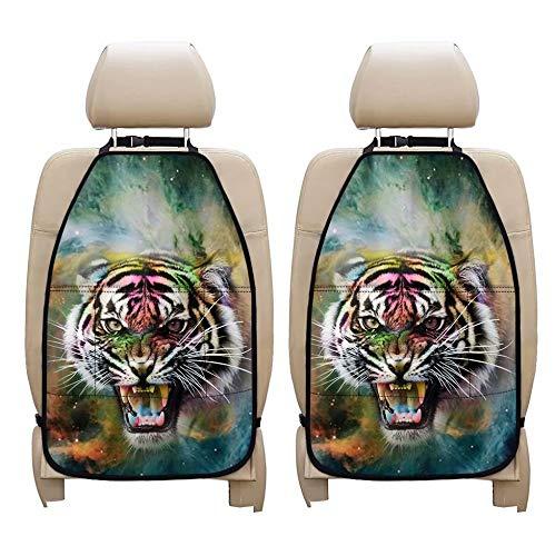 chaqlin Juego de 2 protectores de asiento de coche resistentes a las manchas con Cool Animal Tiger Auto Seat Organizador de asiento trasero Accesorios de viaje Bolsillo de almacenamiento para niños
