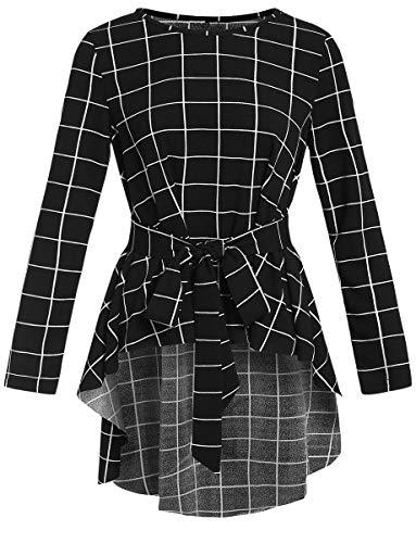 Romwe Women's Raw Hem Long Sleeve Belted Flare Peplum Blouse Shirts Top Black Check Print M