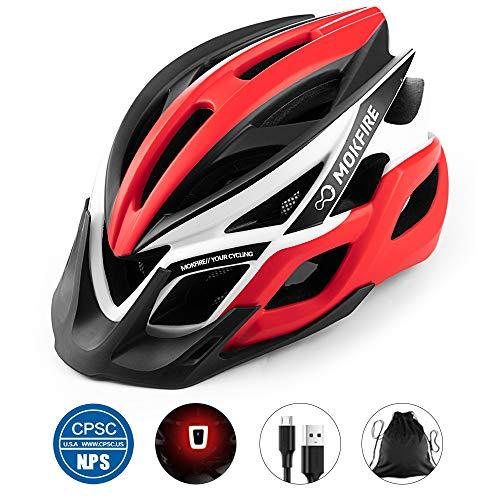 MOKFIRE Casque de vélo pour Adulte certifié CPSC avec lumière USB Rechargeable, Casque de vélo pour Hommes et Femmes pour Le Cyclisme sur Route et Le VTT avec visière Amovible 57-62 CM