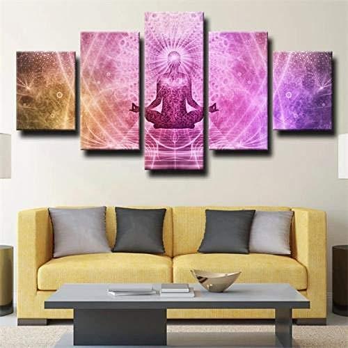 QMCVCDD 5 Piezas De Pared Fotos Cuadros En Lienzo Meditación Sentada del Budismo HD Imprimir Modern Artwork Decoración De Arte De Pared Living Room