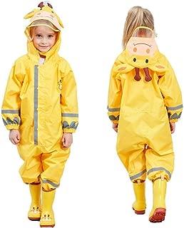 SSAWcasa One Piece Rain Suit Kids,Unisex Toddler Waterproof Rainsuit Rain Coat Coverall