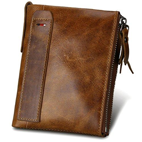 Echtem Rindsleder Geldbörse mit RFID Schutz, Vintage Bifold Geldbeutel Doppelreißverschluss Portemonnaie mit Kreditkarte Halter