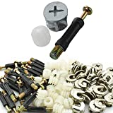 Luckycivia 50 Sets Cam Fitting with Dowel 3-in-1 Hardware Connectors Furniture Side Connecting Pre-Inserted Nut Screw Eccentric Wheel