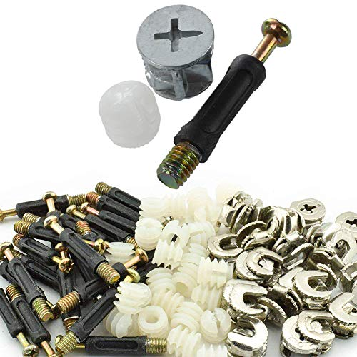 Furniture Connectors Cam Fittings w Dowels w Pre-inserted Nuts 10 Sets