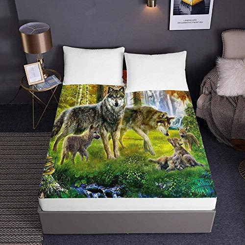 Sábanas ajustables,Sábanas ajustables con estampado de lobo para cama individual doble tamaño king Sábanas 3D de bolsillo profundo 30cm - Microfibra suave de fácil cuidado-El 150x200x30cm_3