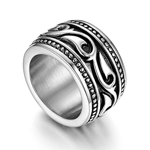 Flongo Anello di Fidanzamento per Uomo, Anello di Tenuta Grande Celtico Anello Irlandese Vikings Celtiche, Amuleto Anello in Acciaio Inox, Taglia Grande 20