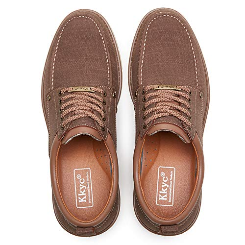 Kkyc Men's Shoes Comfortable Casual Shoes Slip on Lace up Shoes 11M (Brown)