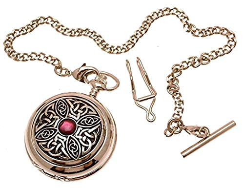 Solid Pewter Fronted Quartz Pocket Watch - Celtic Knot with Stone Design 7