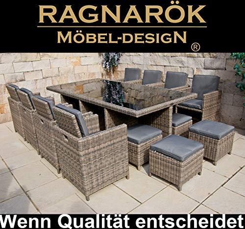 Ragnarök Garten Essgruppe aus Rundrattan in Naturfarbe für 12 Person