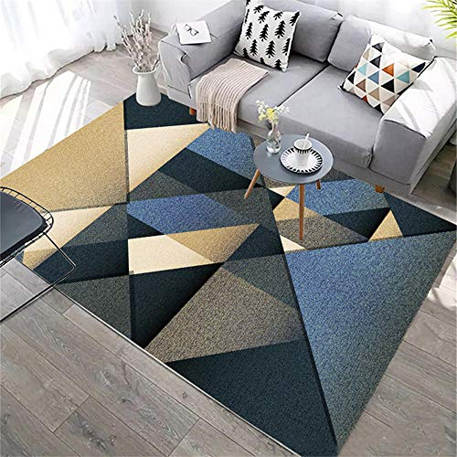 ZHAOPAI living room accessories Blue Carpet Geometric Triangle Pattern Carpet Soundproof Carpetoffice rug -blue_200x300cm