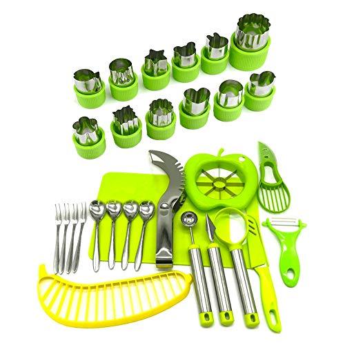 Apple Slicer/Corer/Peeler, Avocado Slicer/Saver, Cortador de melancia, fatiador de banana e tábua de cortar   Faca de cortador de escultura   Conjunto de fatiador de frutas de 30 peças da Carespot
