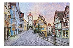 Rothenburg ob der Tauber, Germany - Colorful Medieval Half-Timbered Houses & Stone Street 9027782 (13x19 Premium 500 Piece Jigsaw Puzzle for Adults, 13x19, Made in Germany) Product measures 13 x 19 inches, 500 Pieces, includes large poster 100% Made ...